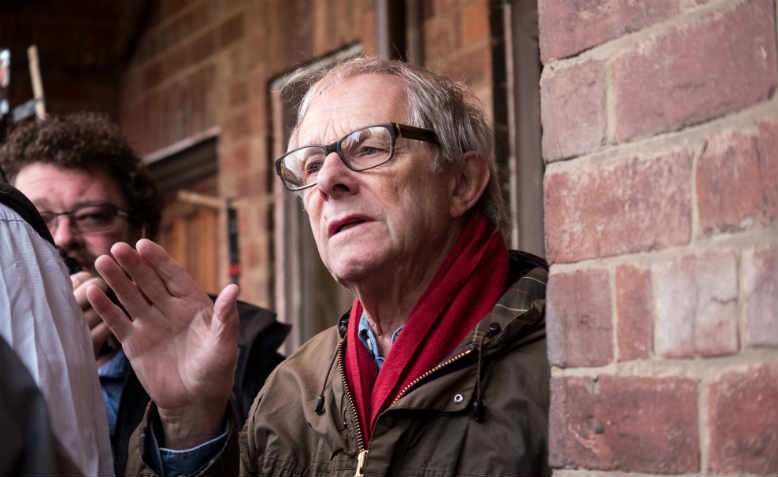 Director Ken Loach prepares a shot for his twenty-third feature film, 'I, Daniel Blake'