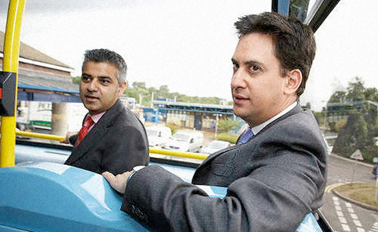 Ed Miliband and Sadiq Khan visit the Hybrid Bus Factory in 2009