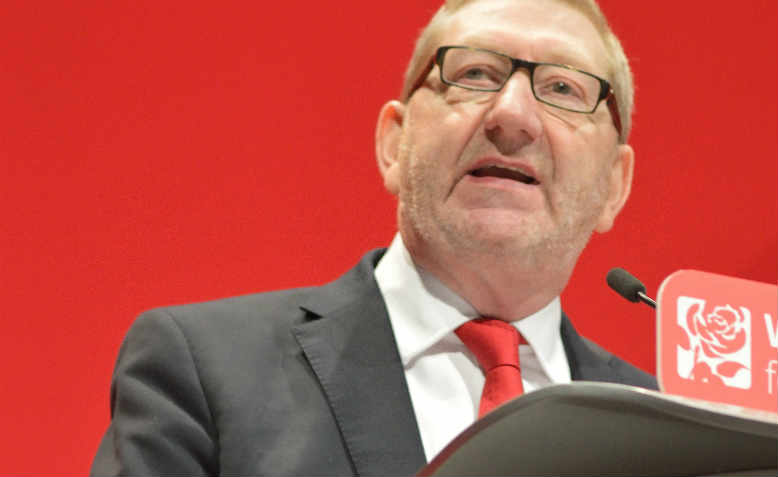 Len McCluskey speaking at the 2016 Labour Party Conference in Liverpool
