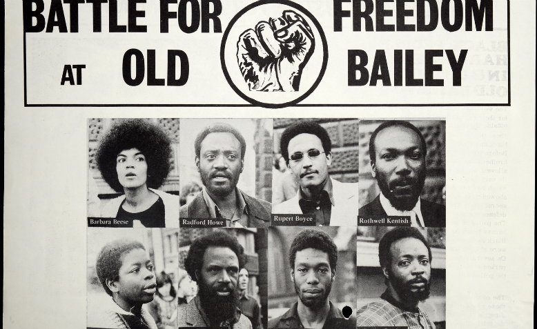 "Darcus ""Radford"" Howe featured top left in this Mangrove Nine flyer, 1971. Graphic: Flickr Commons/National UK Archive"