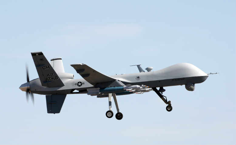 General Atomics MQ-9 Reaper drone in training, 2008. Photo: Wikimedia/Paul Ridgeway