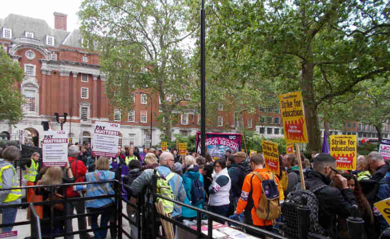 Lunchtime protest outside the Universities and Colleges Employers Association (UCEA) in London. Photo: Graham Kirkwood
