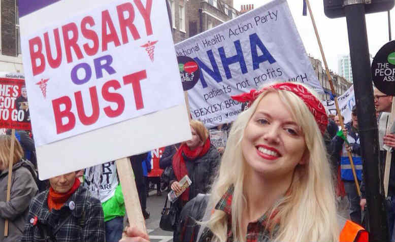 Shelly Asquith on the People's Assembly demonstration on 16 April in London. Photo: Facebook