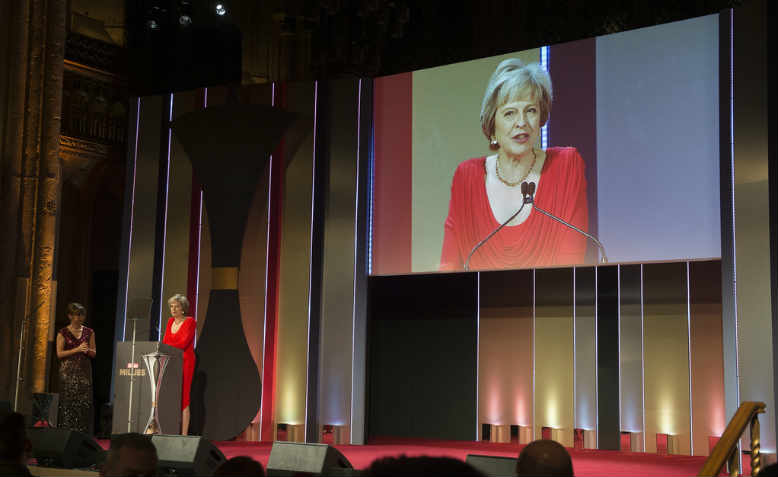PM Theresa May at the Sun Military Awards 2016. Photo: Flickr/Jay Allen
