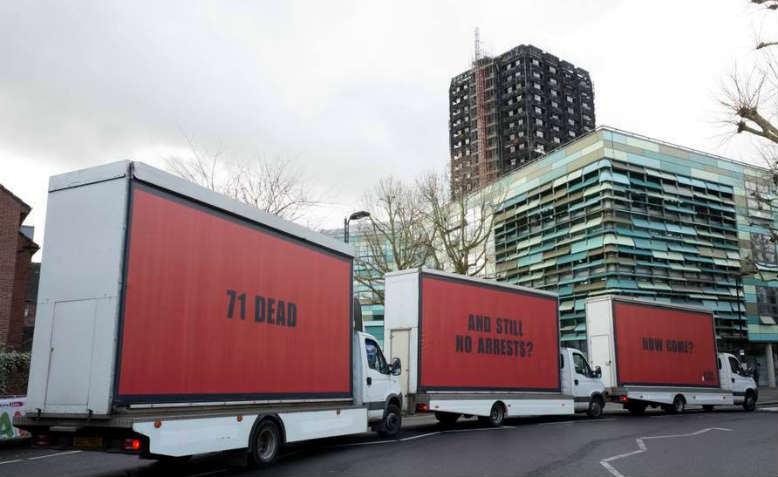 3 Billboards outside Grenfell. Photo: Facebook/Justice4Grenfell