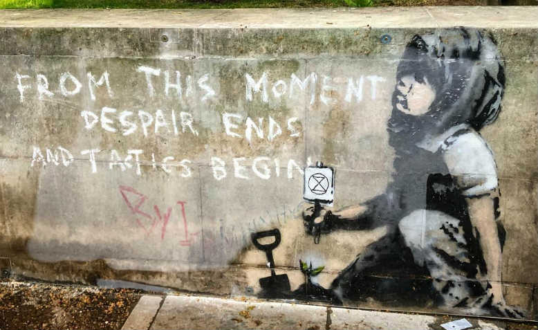 Banksy graffiti in Marble Arch supporting Extinction Rebellion protests. Photo: Shabbir Lakha