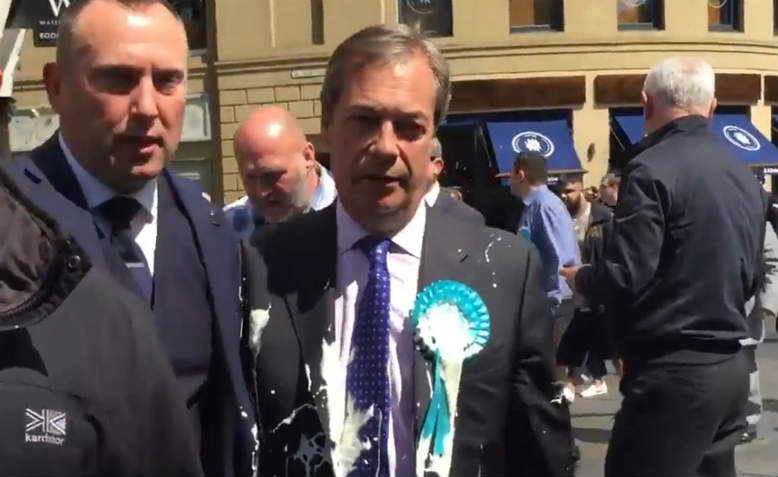 Nigel Farage gets milkshaked in Newcastle. Photo: YouTube/screenshot