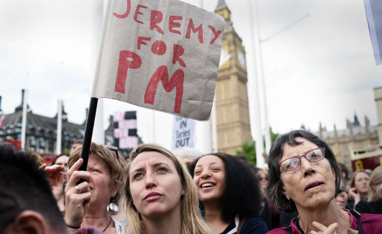 Women with pro-Corbyn signs