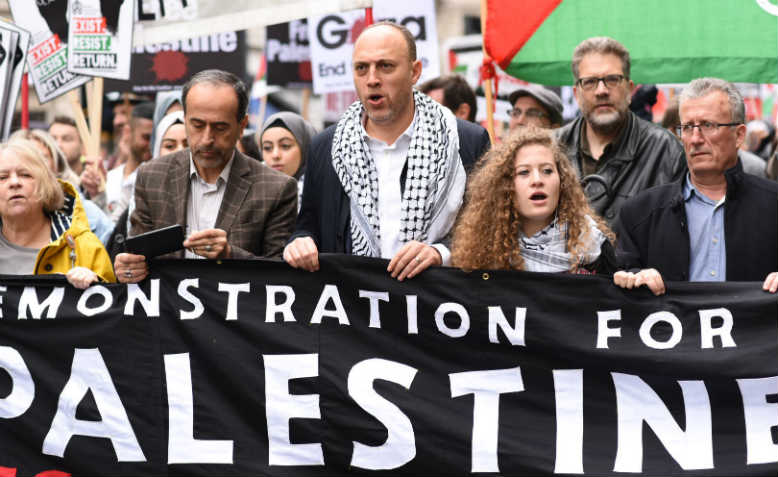 Front banner on the national demonstration for Palestine, 11 May. Photo: Jim Aindow