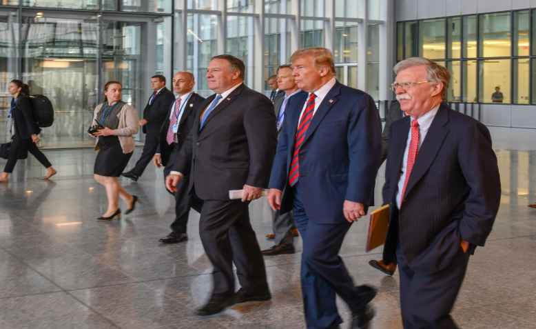 Trump, Bolton, Pompeo at Nato, 2018. Photo: wikimedia commons