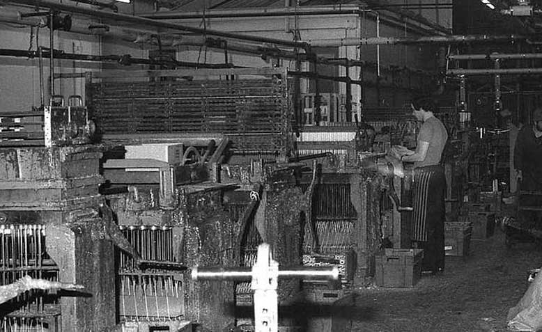 Factory with hand operated machines, 1970s. Source; Wikipedia