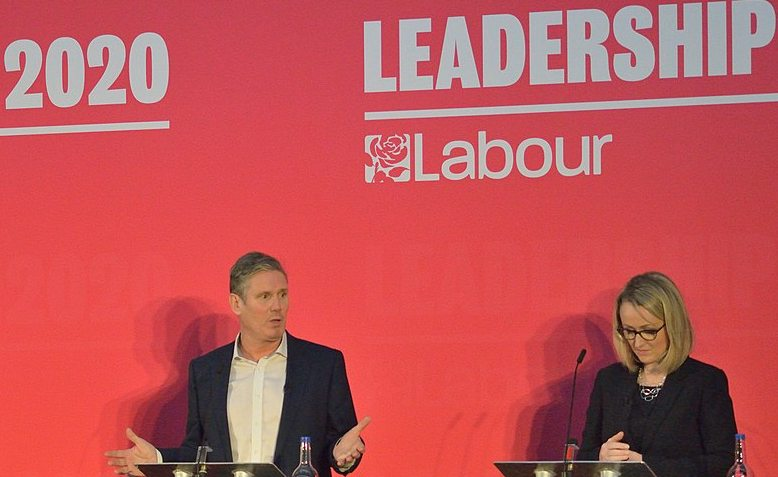 Starmer along with Long-Bailey at LP leadership election hustings in Bristol. Source: Wikipedia