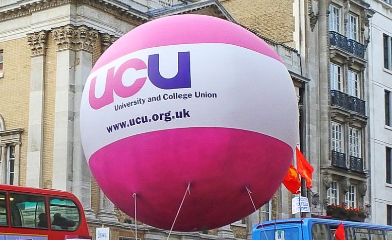 UCU Balloon, July 18, 2019, Westminster Photo: It's No Game / cropped from original / licensed under Creative Commons Attribution 2.0 Generic (CC BY 2.0), linked at the bottom of article