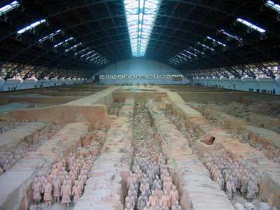 The Terracotta Army guarding the body of the First Emperor of China