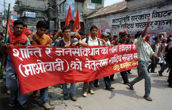 Protestors during Nepal's recent general strike