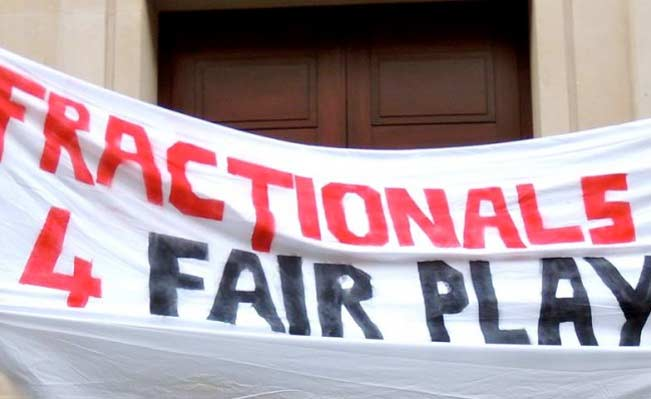 Fair Play For Fractionals banner at SOAS. Photo: Tom King