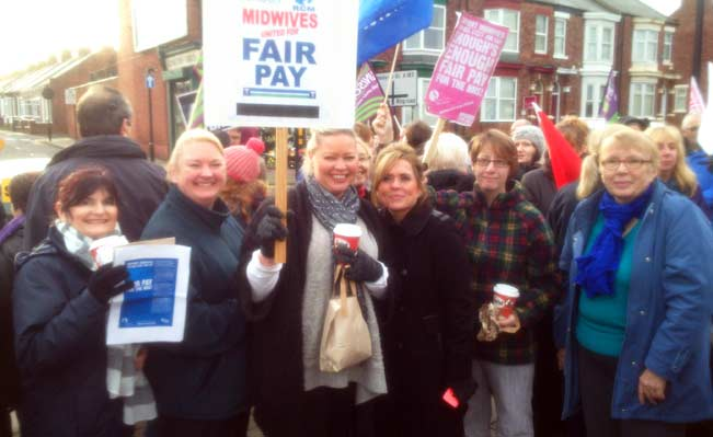Midwives on the picket line in Sunderland