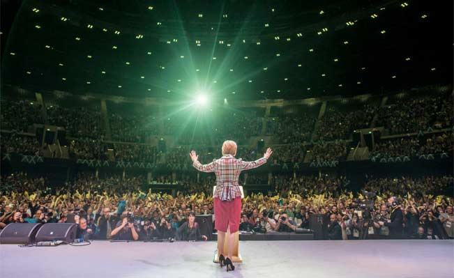 Nicola Sturgeon addresses a crowd of 10,000 SNP members at the SSE Hydro. Photo: Daily Record