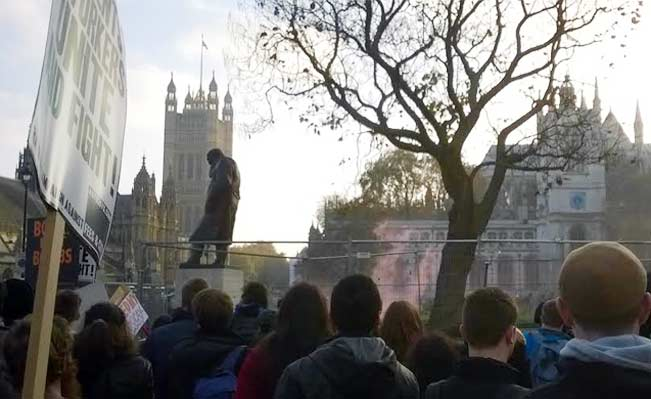 Students protest in Parliament Square. Photo: Jack Brindelli