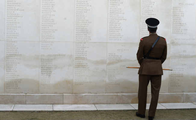 A member of the British armed forces at the Armed Forces Memorial. Image: AFP