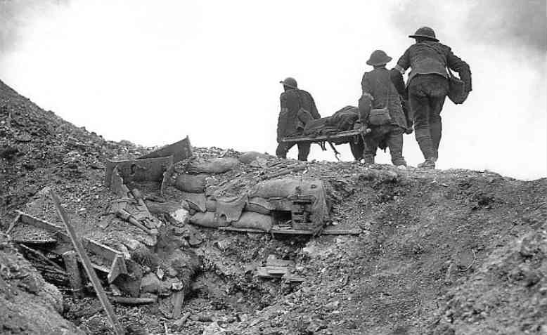 Stretcher bearers recovering the wounded during the Battle of Thiepval Ridge, September 1916