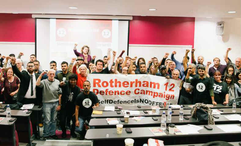 """Self Defence is No Offence"". Photo: Support the Rotheram 12 Facebook page"