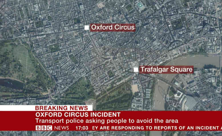 Breaking news on BBC about Oxford street incident