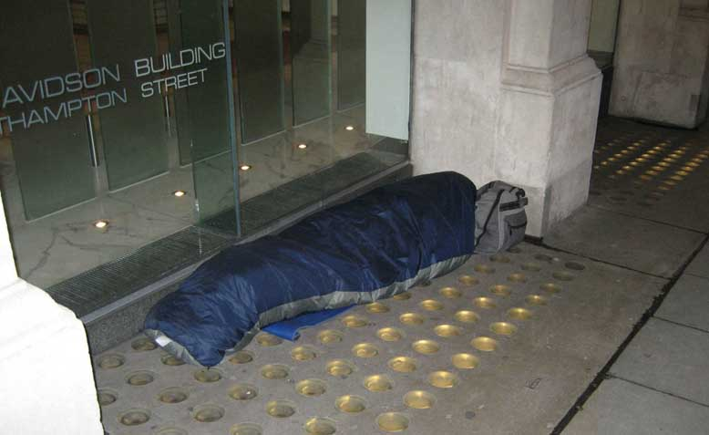 Homeless sleeper in Covent Garden. Photo: WIkimedia Commons