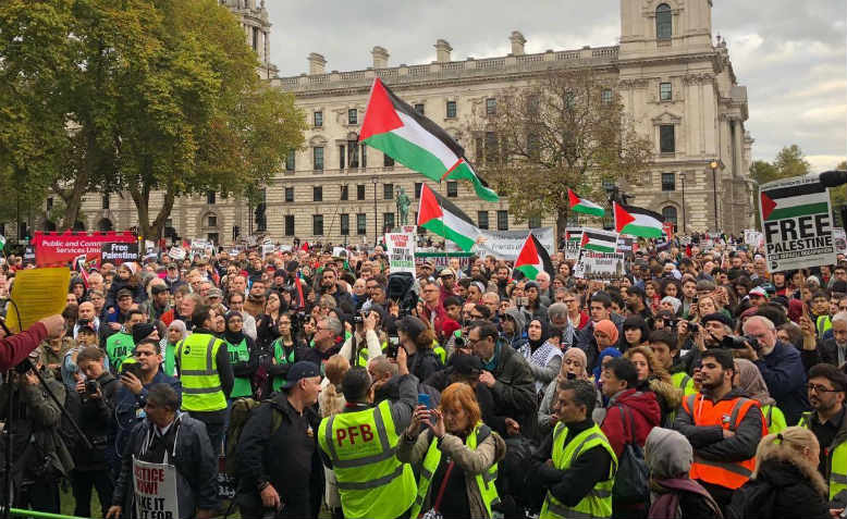 "Parliament Square echoing with chants of ""Free free Palestine"". Photo: Shabbir Lakha"