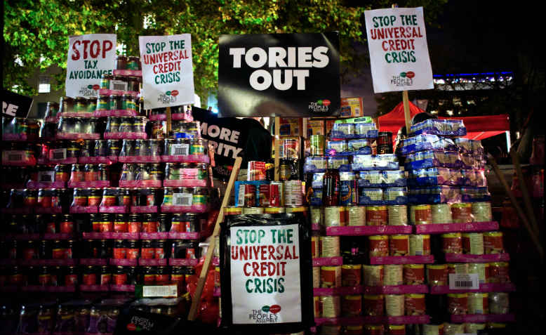 Food bank donations on display outside Downing Street at People's Assembly protest, 21 November. Photo: Jim Aindow