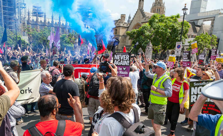 Demonstration opposing Tommy Robinson supporters, 14 July 2018. Photo: Flickr/Mark Ramsay