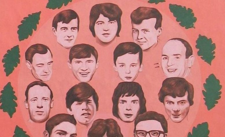 mural showing 14 faces