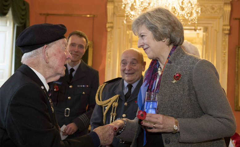 Theresa May hosts veterans' afternoon tea, November 2016. Photo: Flickr/Number 10