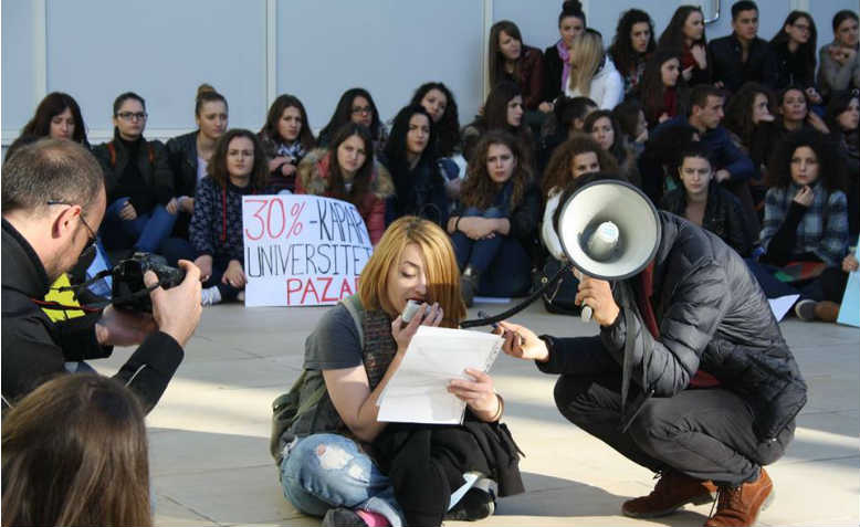 Student protest at Tirana University, Albania, November 2014. Photo: Students Not Customers