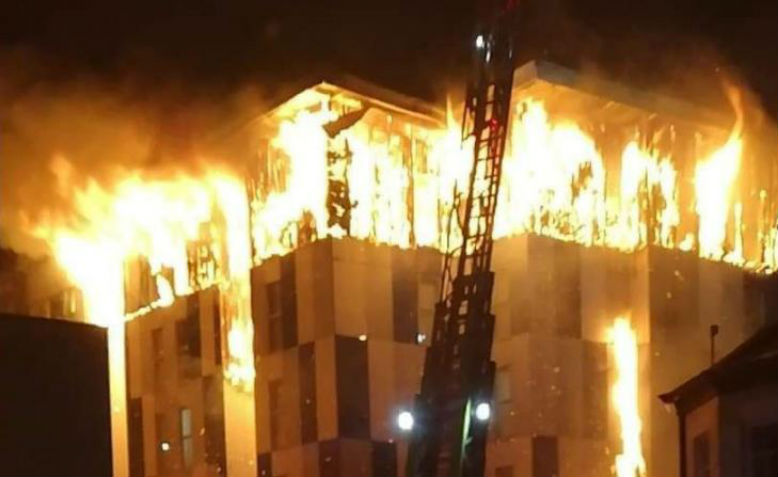 Housing block fire