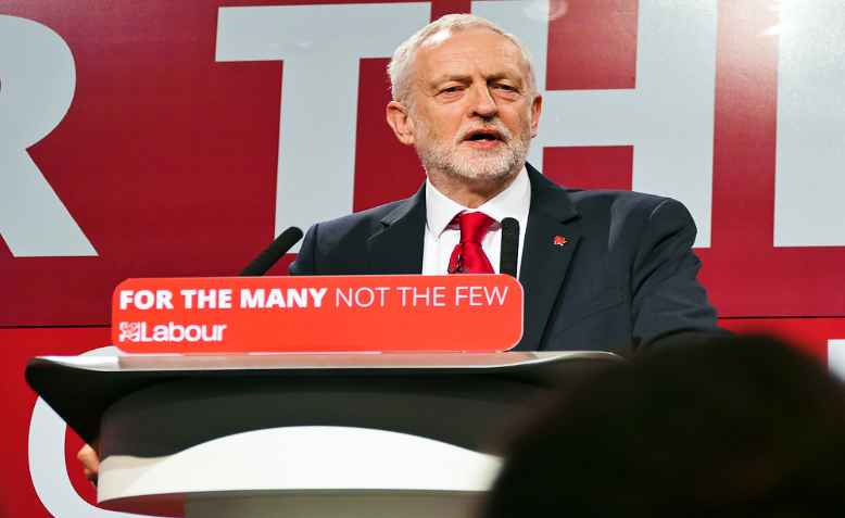 Jeremy Corbyn speaking at the Labour Party election launch, 2017. Photo: wikimedia commons