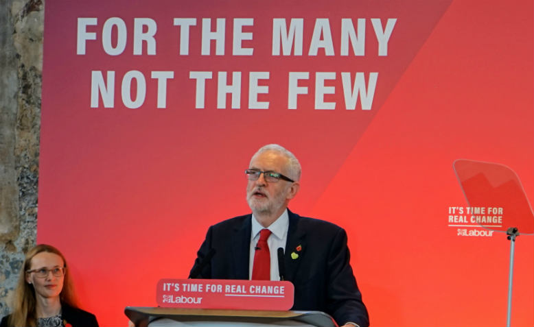 Jeremy Corbyn speaking at the general election campaign launch. Photo: Neda Radulović-Viswanatha