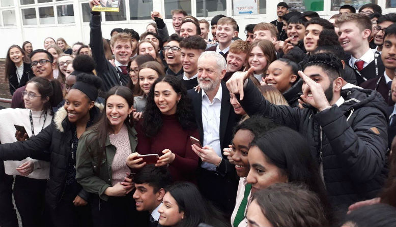 Jeremy Corbyn at a school