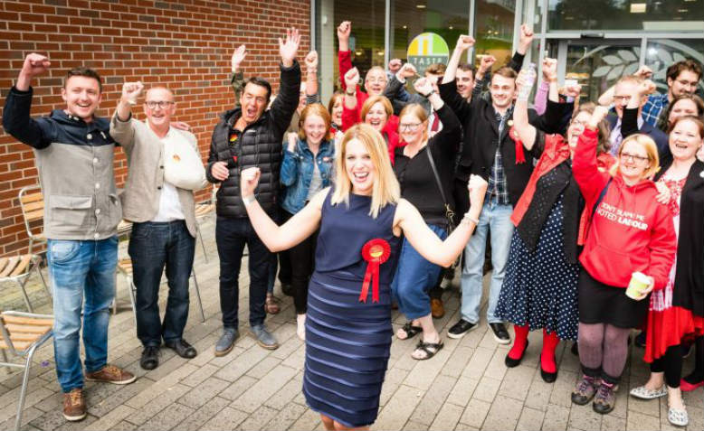 Laura Smith elected as MP for Crewe and Nantwich, June 2017. Photo: Crewe and Nantwich Labour Party