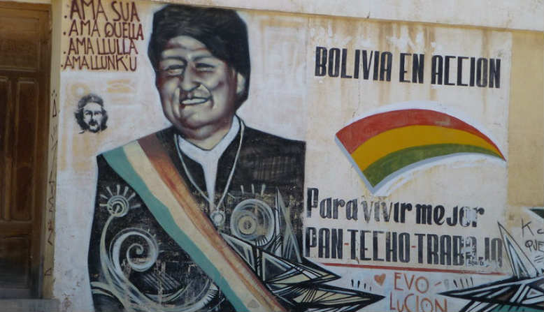 Graffiti of President Morales on a wall in Villazón, Bolivia. (Photo: Flikr, Randal Sheppard)