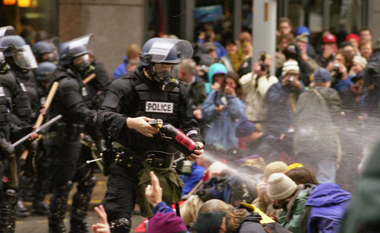 WTO protests in Seattle, November 1999. Photo: Steve Kaiser via flickr