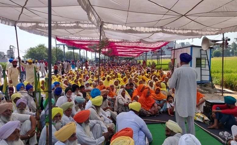 Farmers protesting farm laws in Punjab, India.