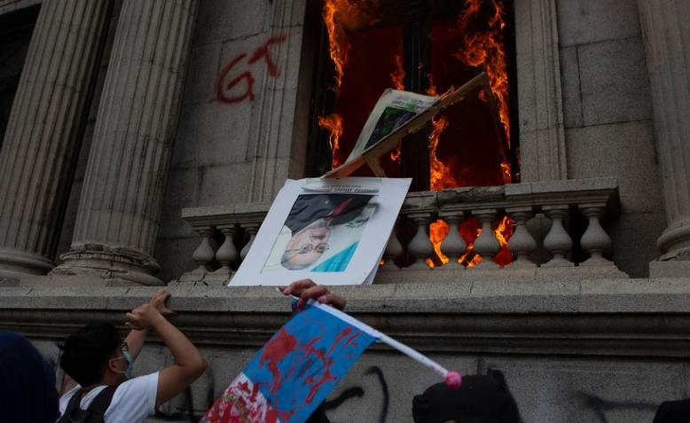 Guatemala's Congress on fire during protests
