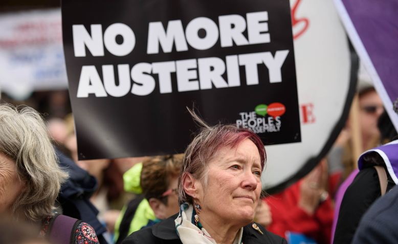 No More Austerity placard