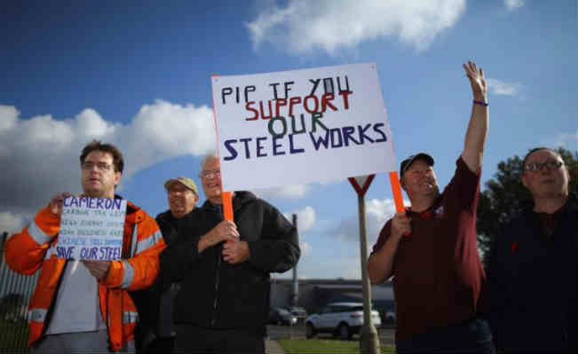 steel workers protesting