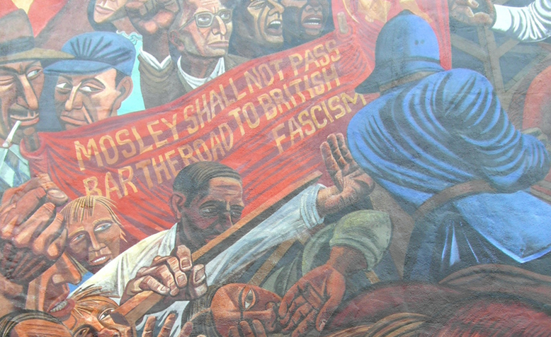 Detail from mural commemorating the Battle of Cable Street on Sunday, 4 October 1936 on the wall of St. George's Town Hall. Photo: Flickr/ Reading Tom