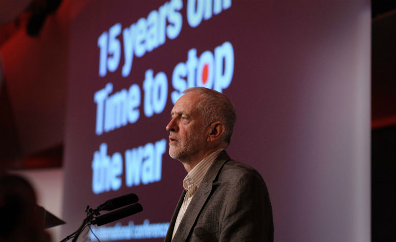 Jeremy Corbyn at '15 years on: Time to stop the war' conference. Photo: Flickr/ Jim Aindow