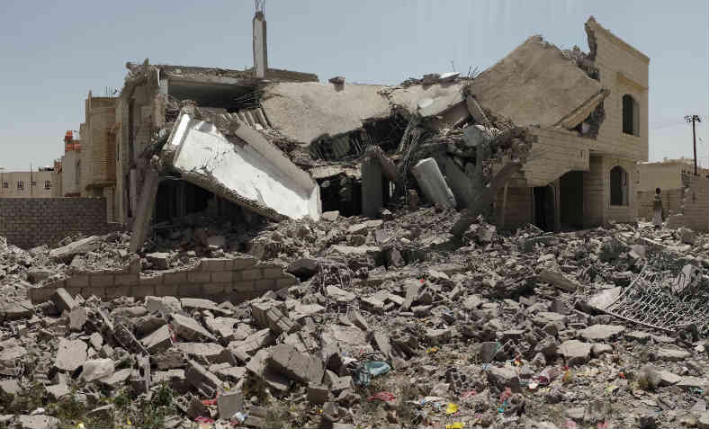 Aftermath of a Saudi-led coalition airstrike in Sana'a, June 2015. Photo: Wikepedia