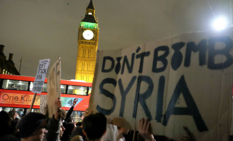 Don't Bomb Syria demonstration outside Parliament, 1st December 2015. Photo: Flickr/Allsdare Hickson