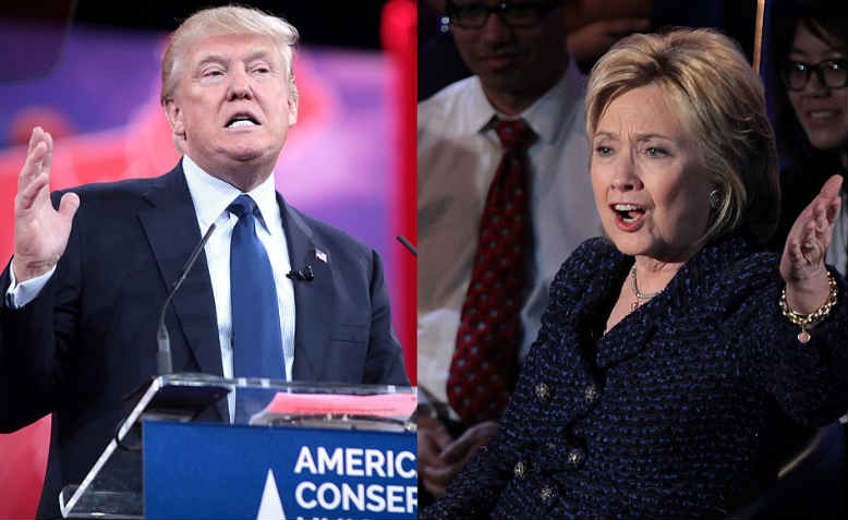 Donald Trump and Hillary Clinton during the US presidential election, 2016. Photo: Wikimedia Commons